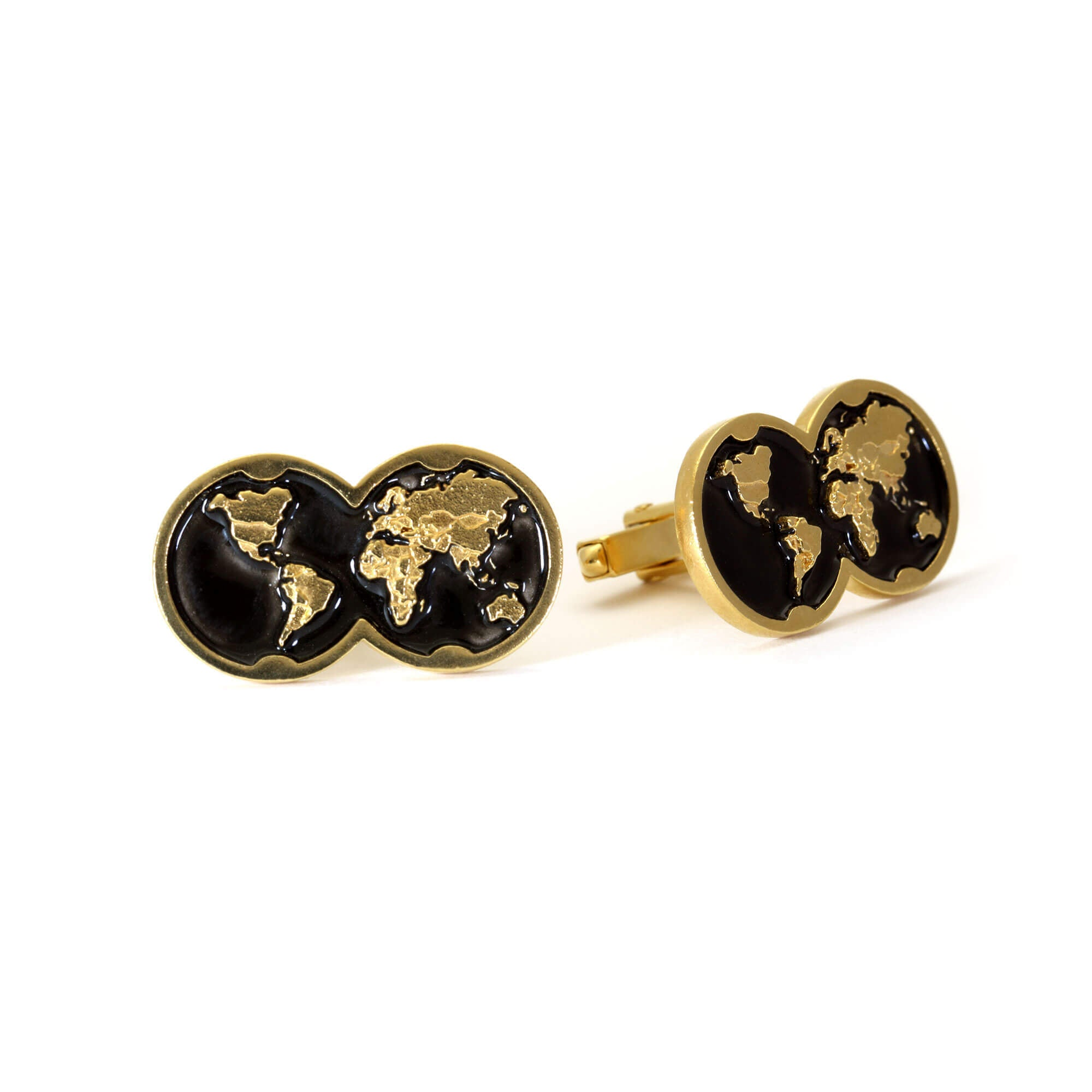 Pair of black enamel and yellow gold cufflink with double globe motif