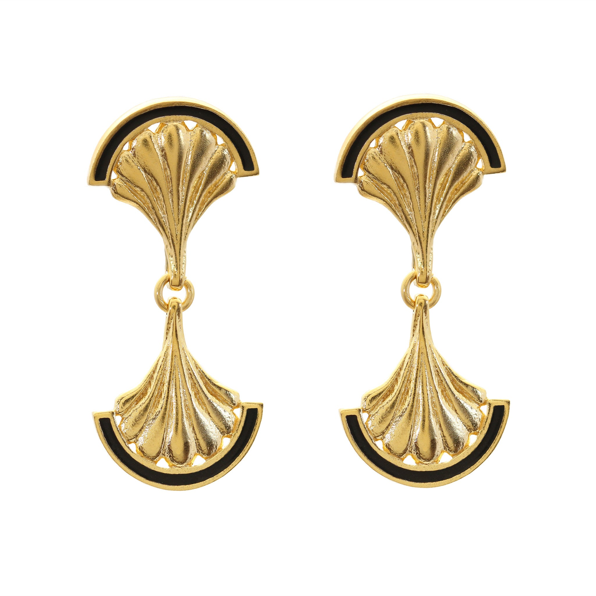 Facade Mirror Yellow Gold Drop Earrings