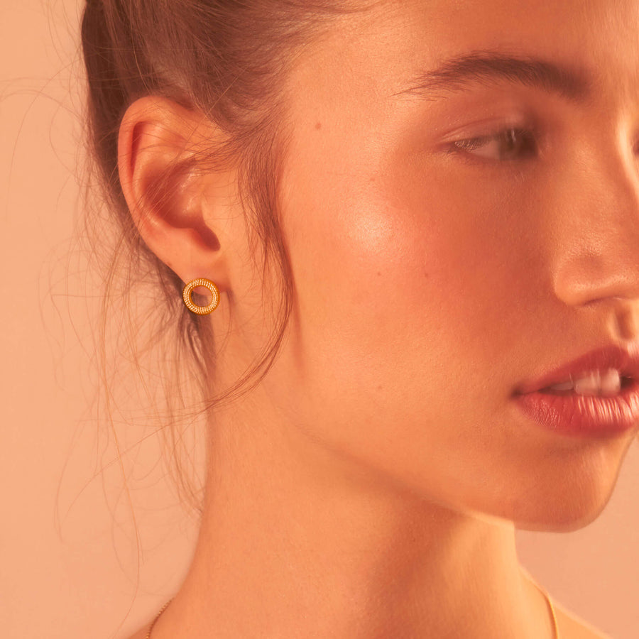 Tyro Yellow Gold Stud Earrings