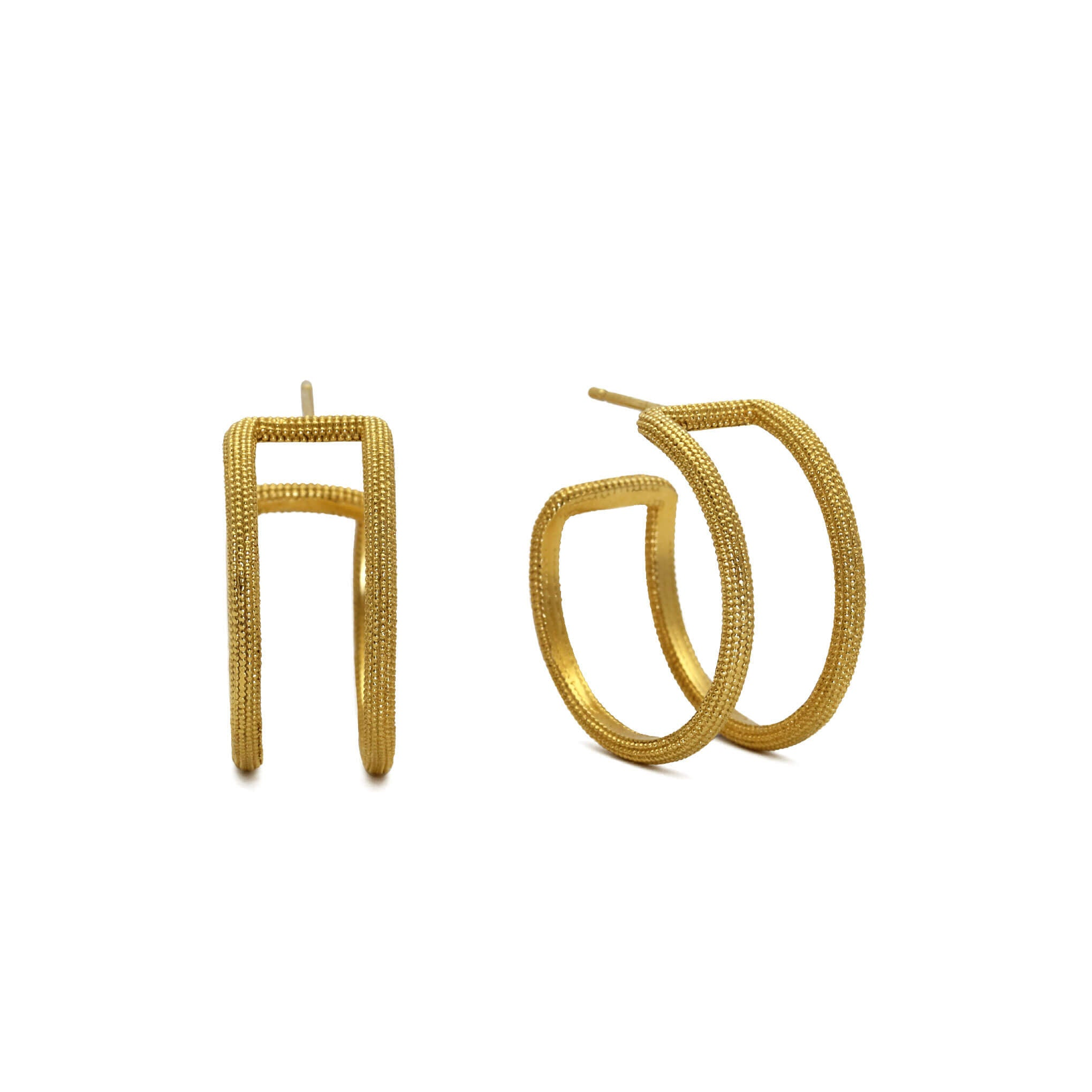 Maxilla Yellow Gold Double Hoop Earrings