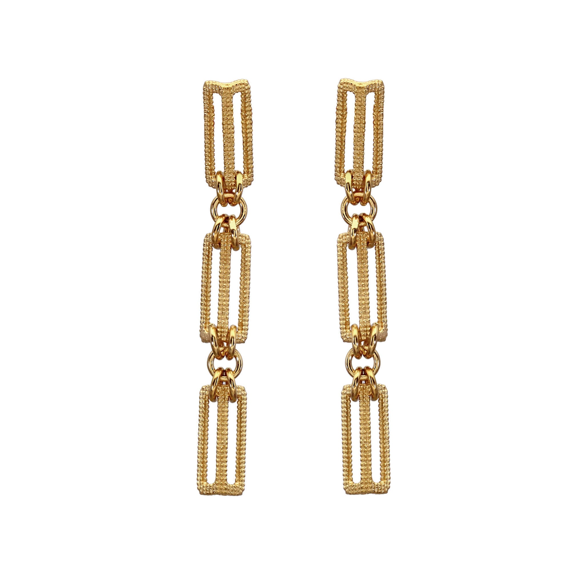 Maxilla Link Yellow Gold Drop Earrings