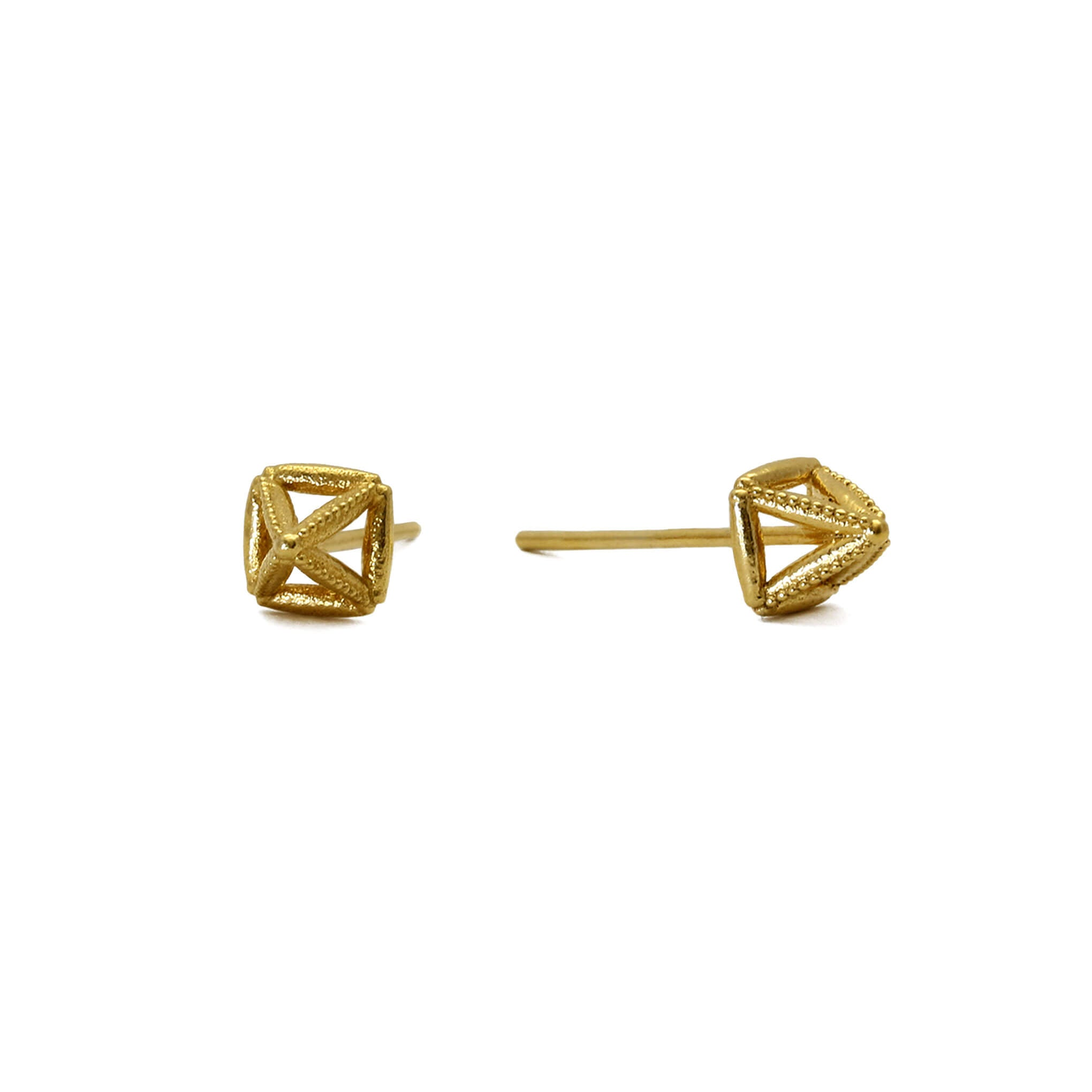 Mysid Yellow Gold Stud Earrings