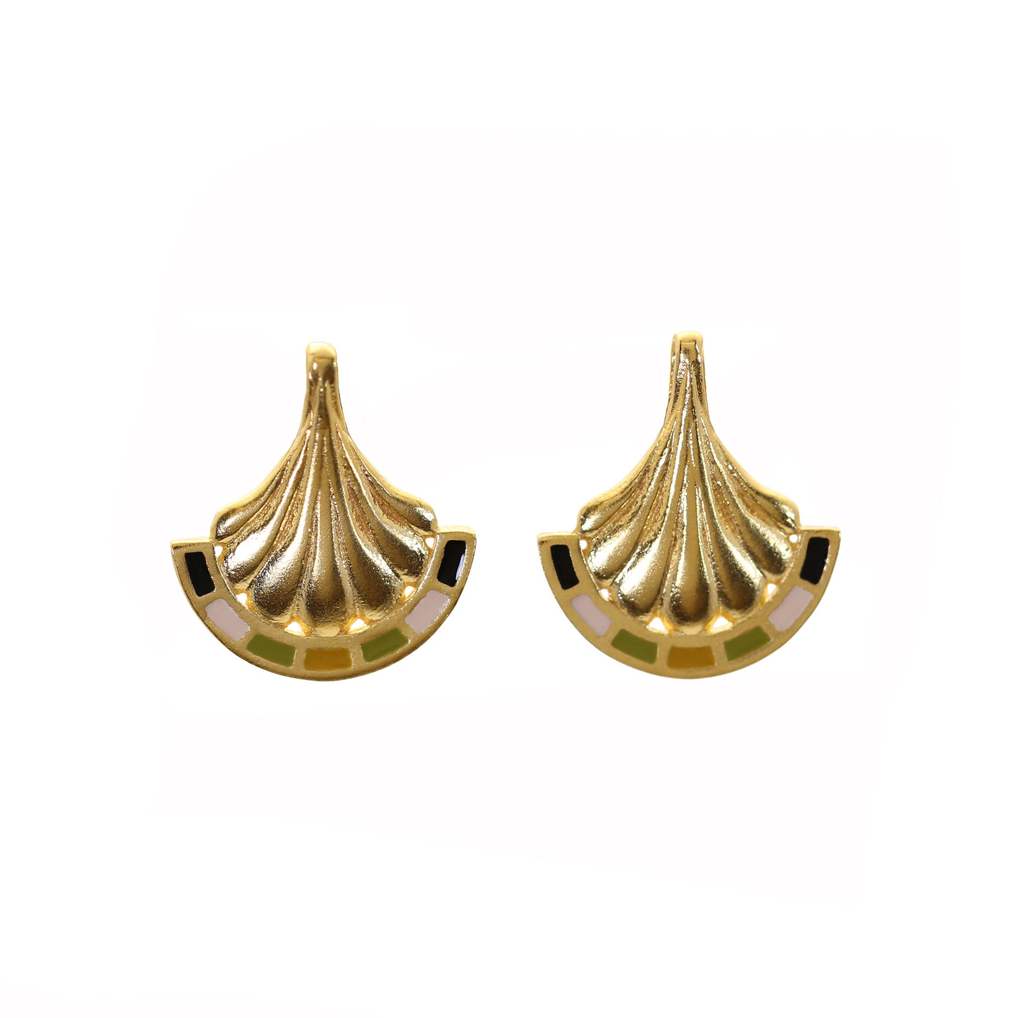 Enamel Arch Yellow Gold Stud Earrings