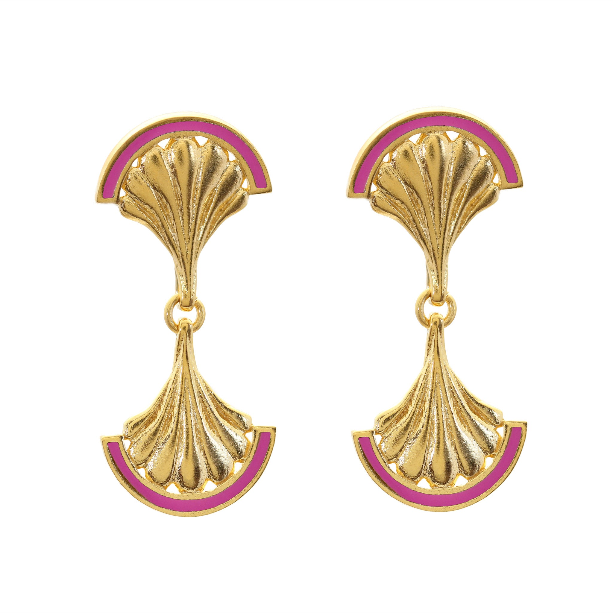 Fuchsia Facade Mirror Yellow Gold Drop Earrings