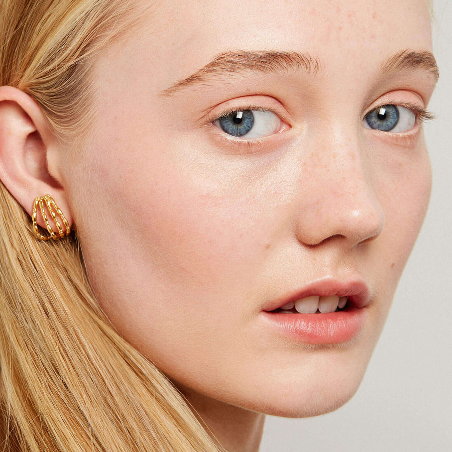 Gammarus Yellow Gold Ear Cover Earrings