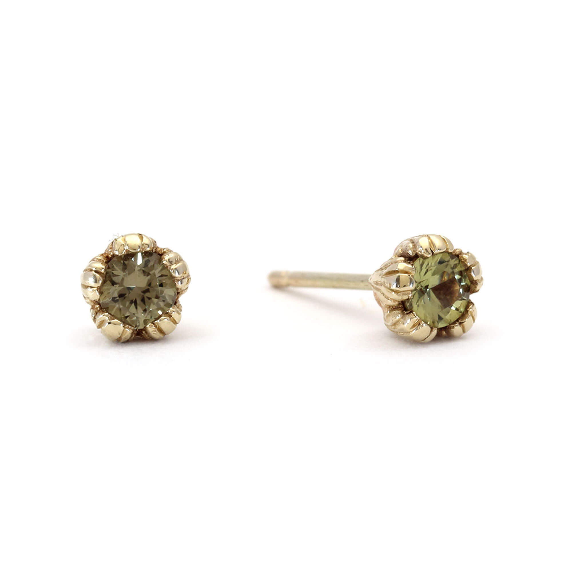 a0584245a Villa 9ct Yellow Gold and Green Sapphire Stud Earrings | Rosie Kent ...
