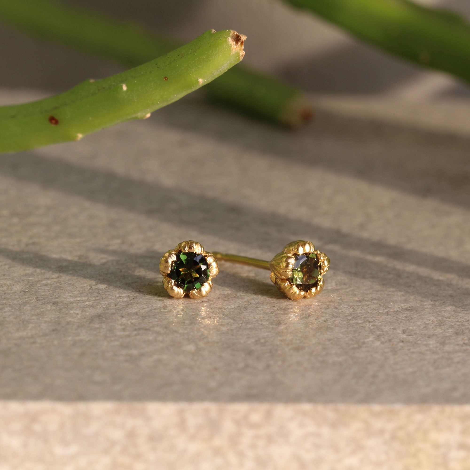 Villa Yellow Gold and Green Tourmaline Stud Earrings