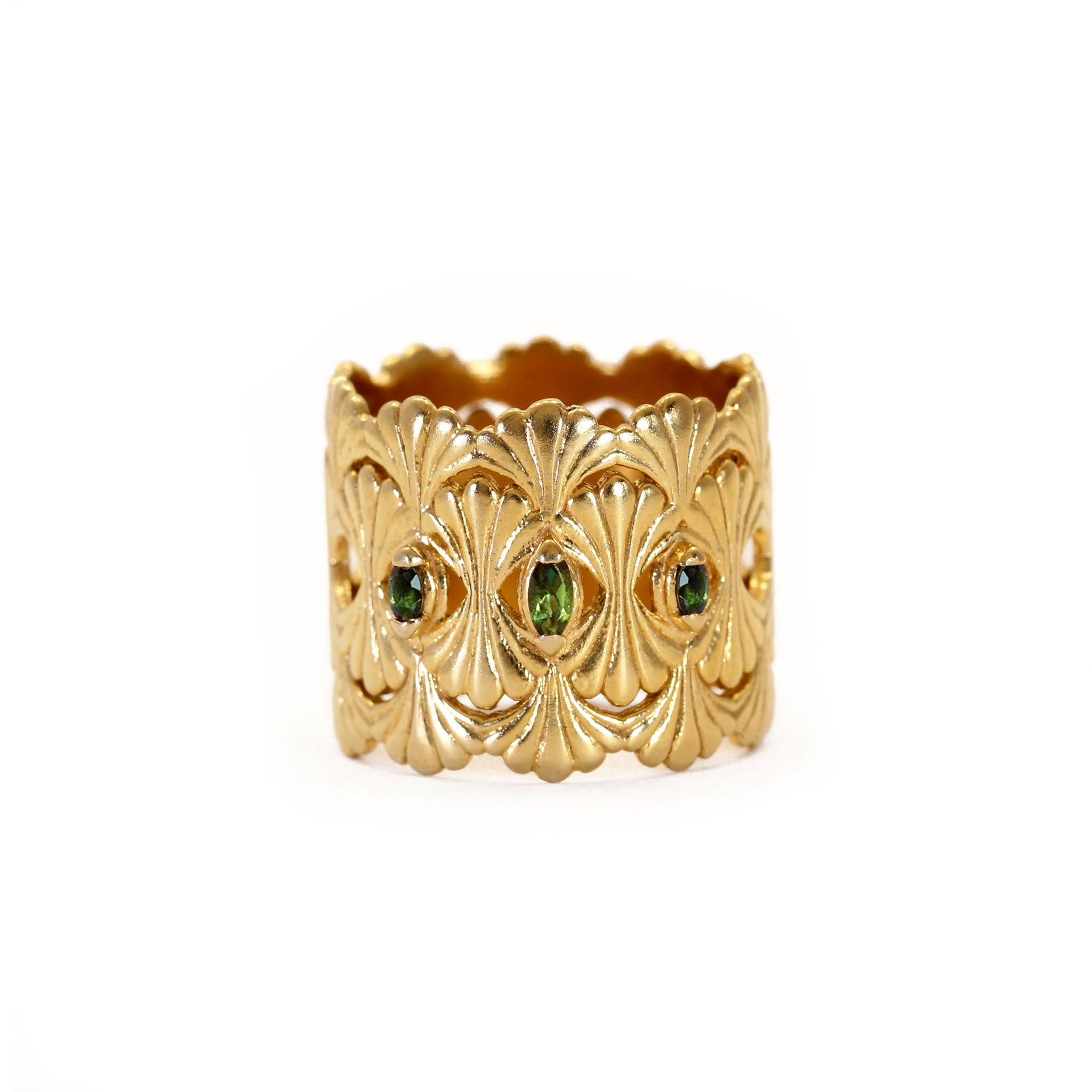 Column Yellow Gold and Green Tourmaline Ring