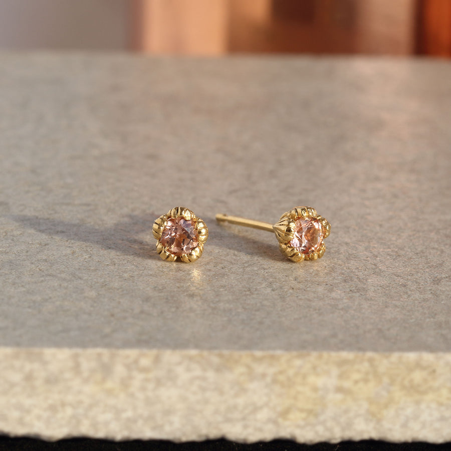 Villa Yellow Gold and Imperial Topaz Stud Earrings