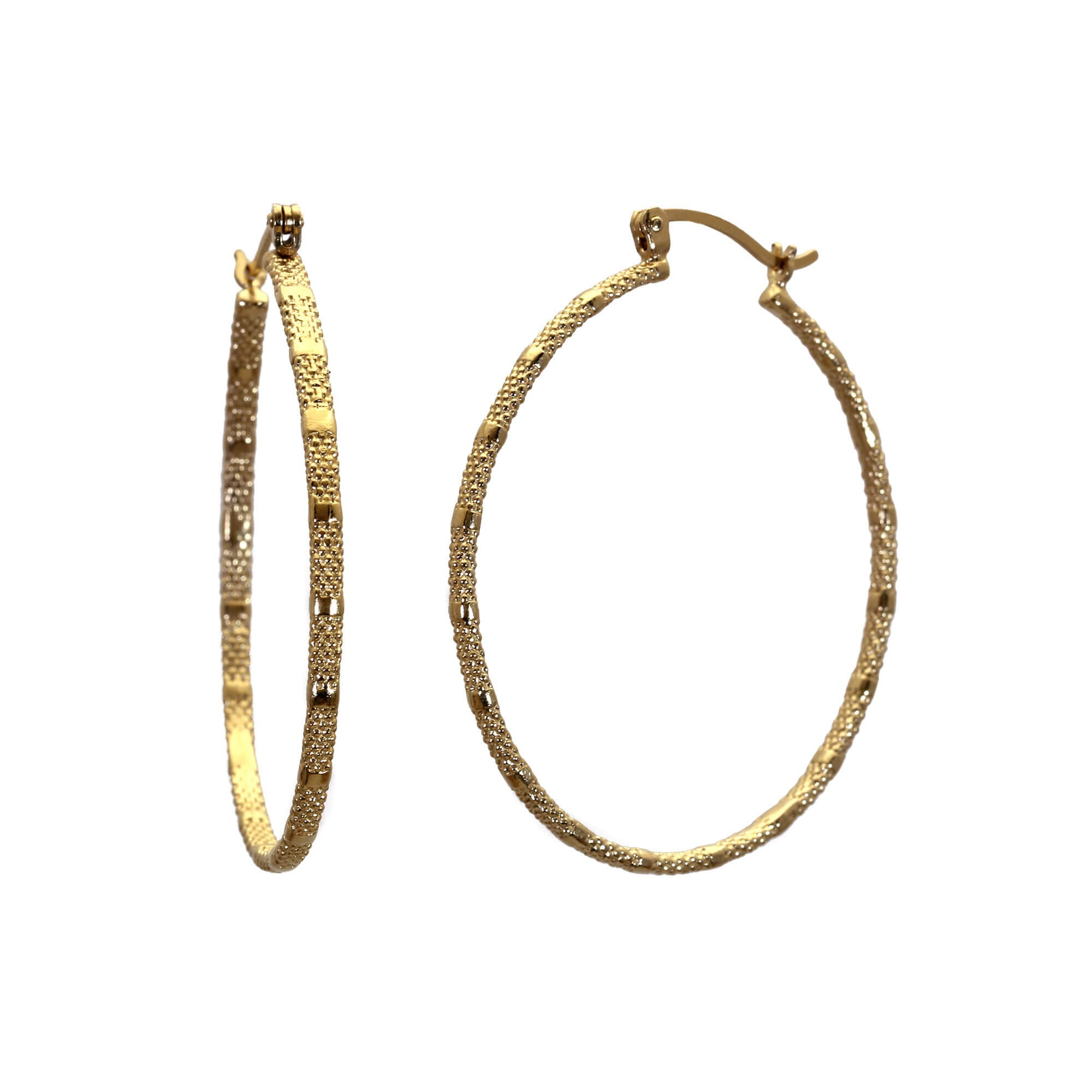 Fracture Yellow Gold Large Hoop Earrings