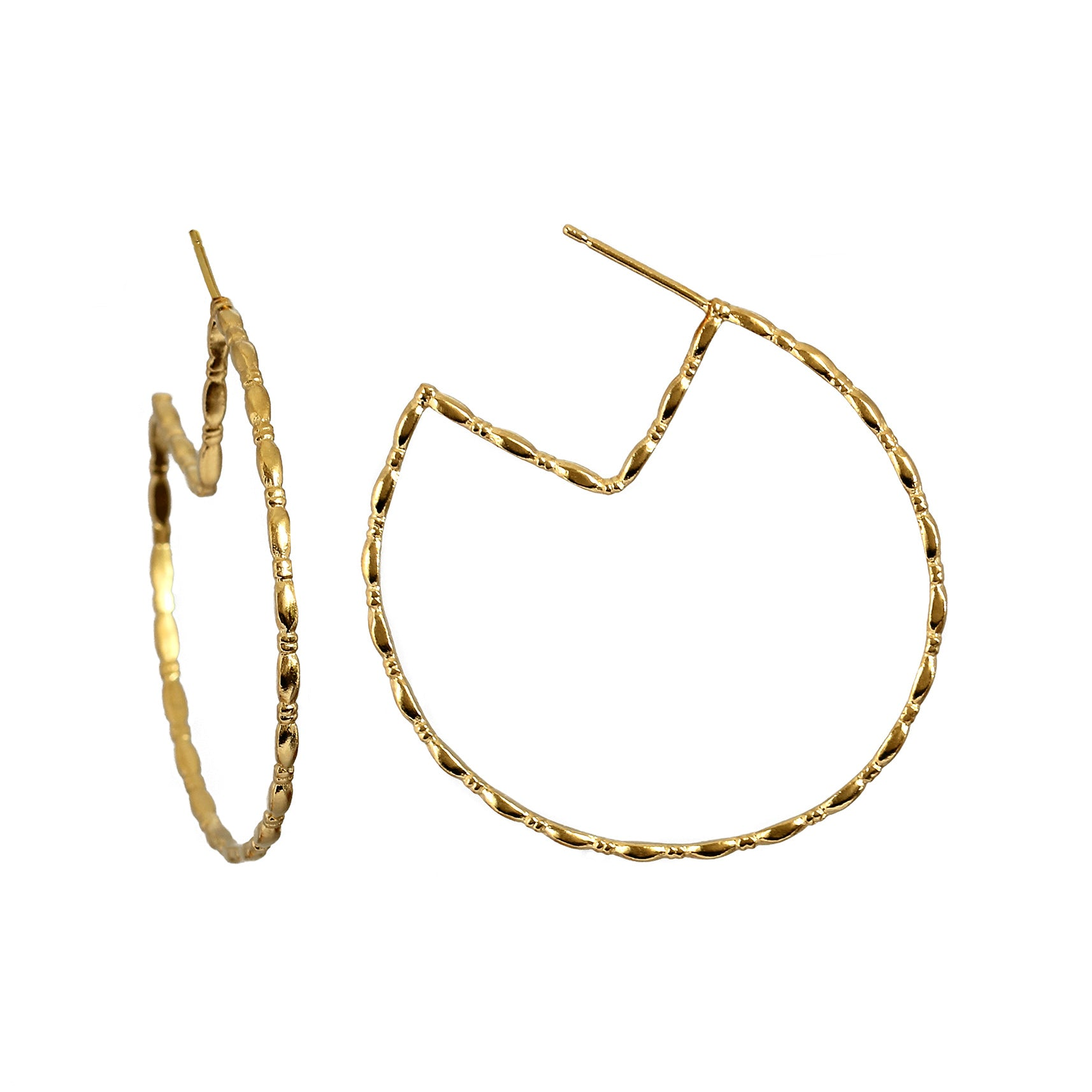 Gammarus Yellow Gold Large Hoop Earrings