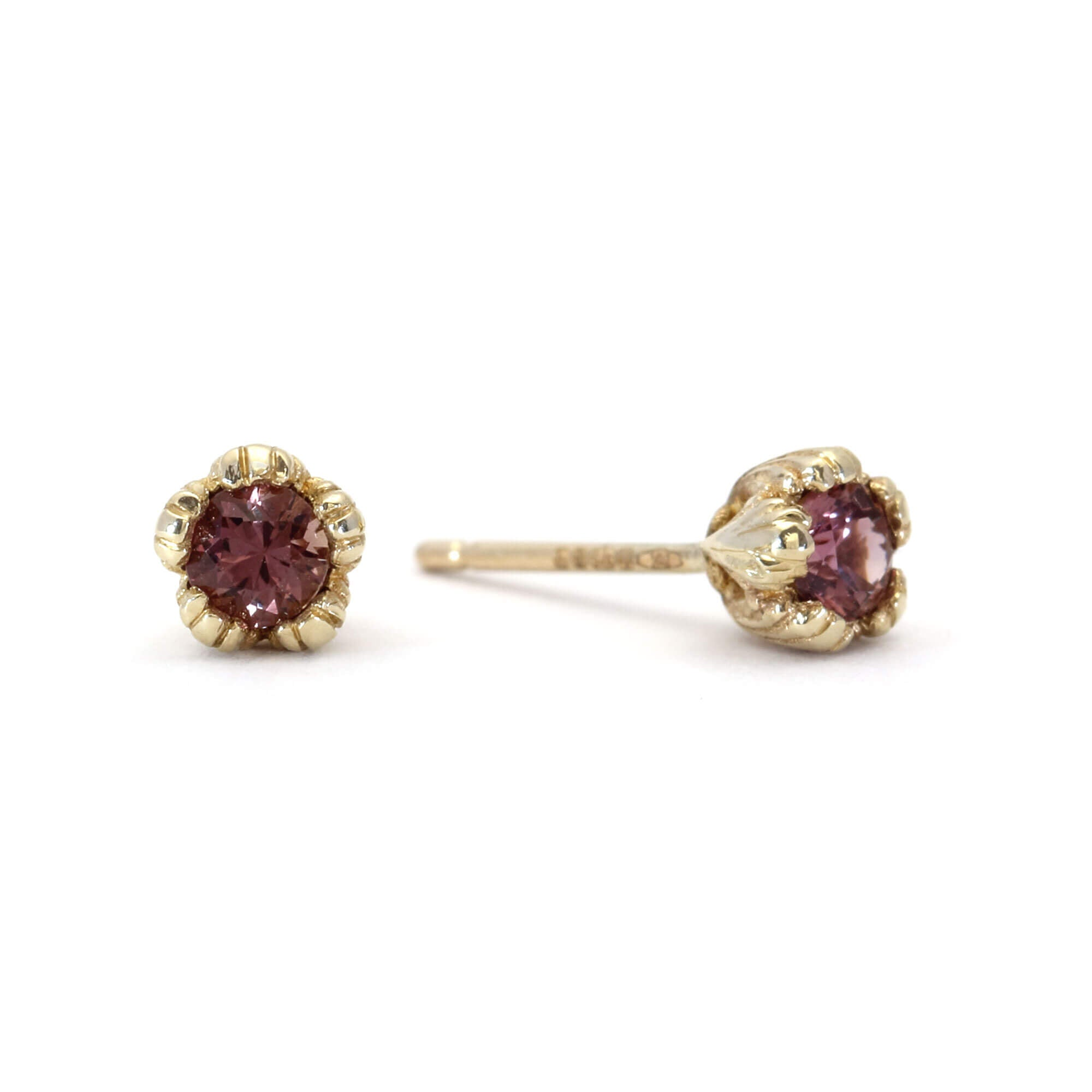 Villa 9ct Yellow Gold and Pink Sapphire Stud Earrings