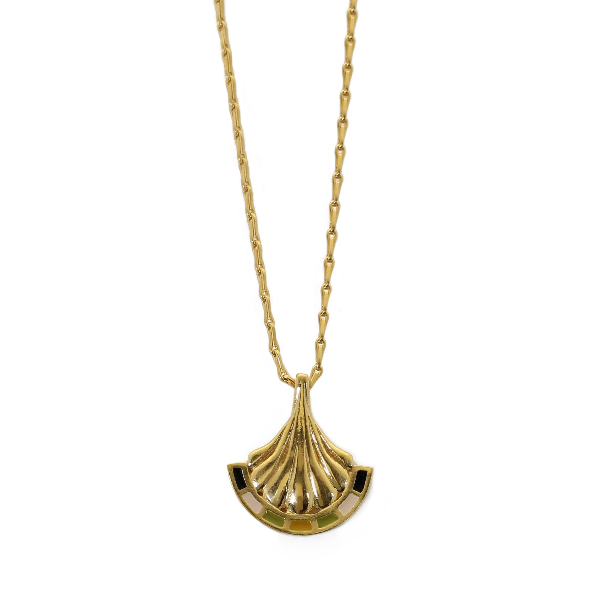 Enamel Arch Yellow Gold Pendant