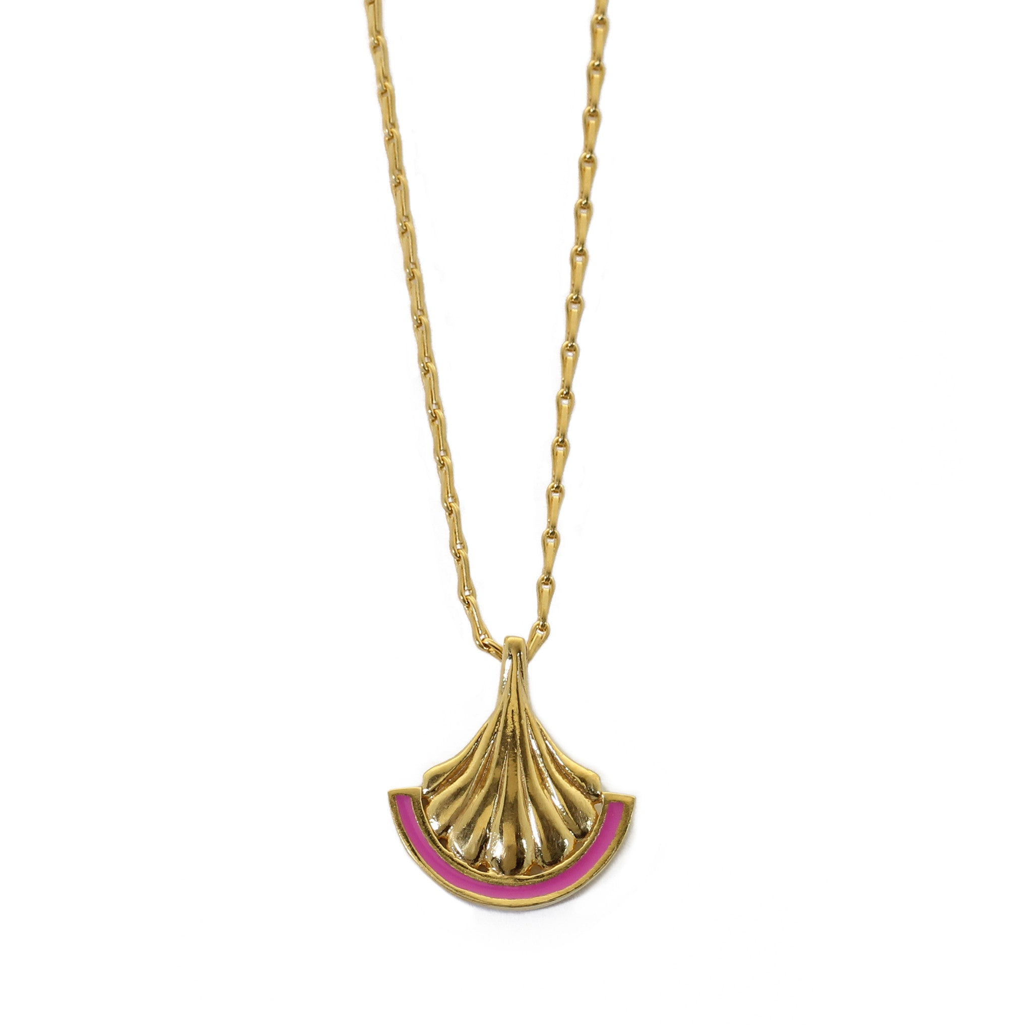 Fuchsia Enamel Pillar Yellow Gold Pendant