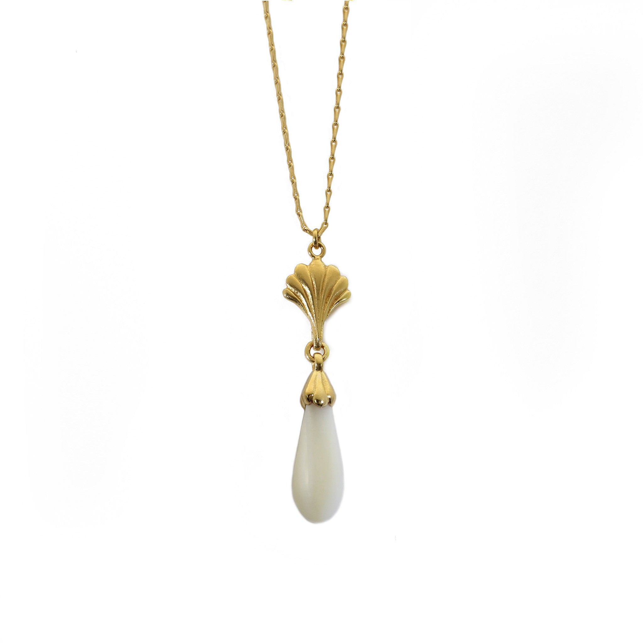Facade Yellow Gold and Mother of Pearl Drop Necklace