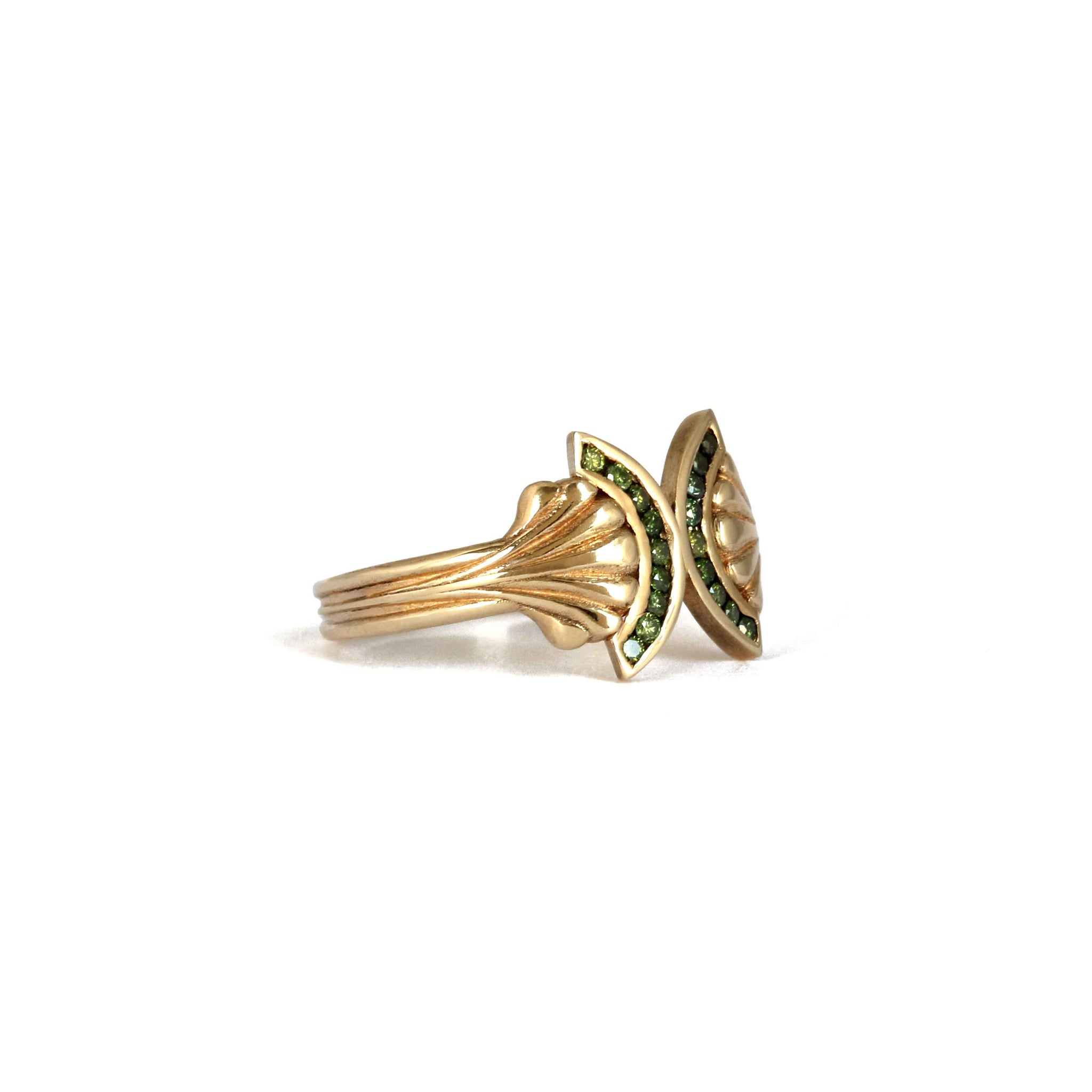 Green Diamond 9ct Yellow Gold Pillar Ring