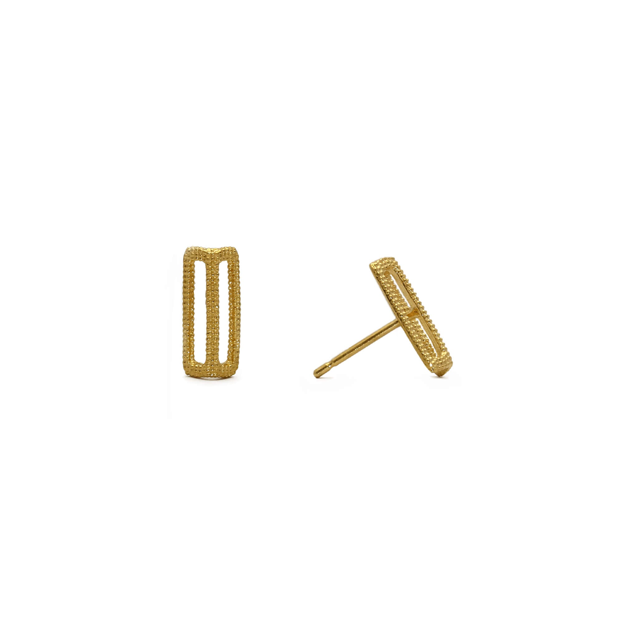 Maxilla Link Yellow Gold Stud Earrings