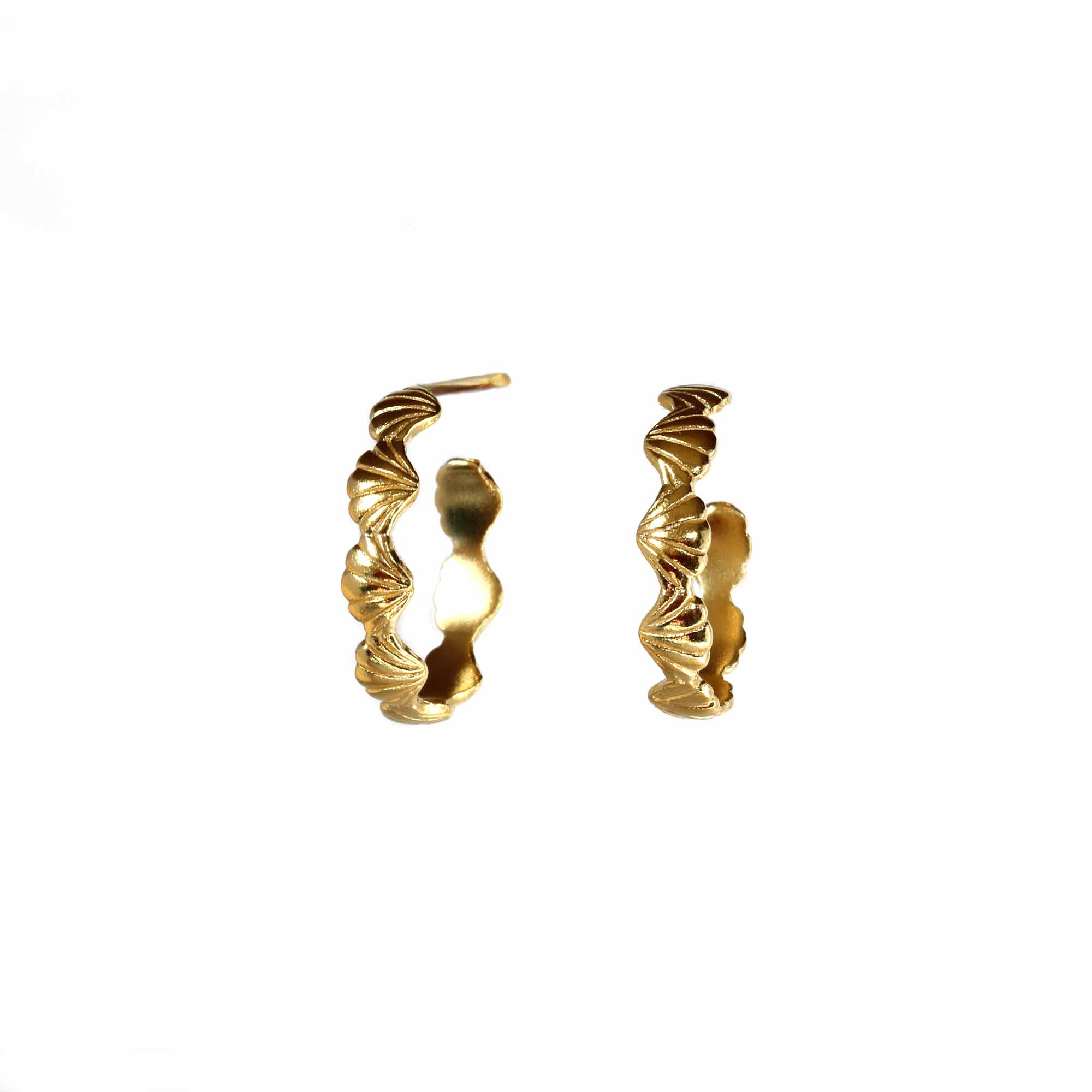 Tiny Shell Yellow Gold Hoops