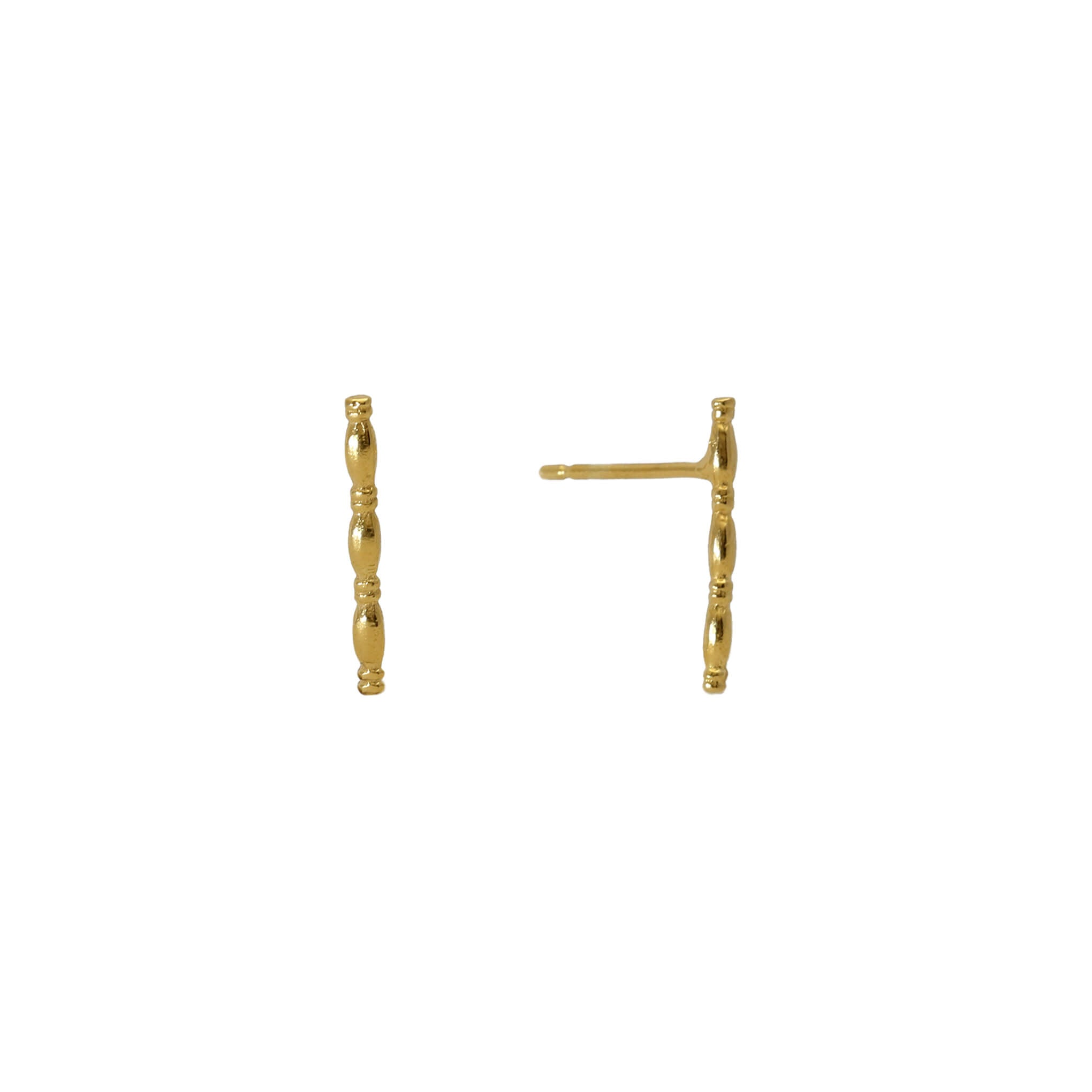 Patterned yellow gold stick stud earrings