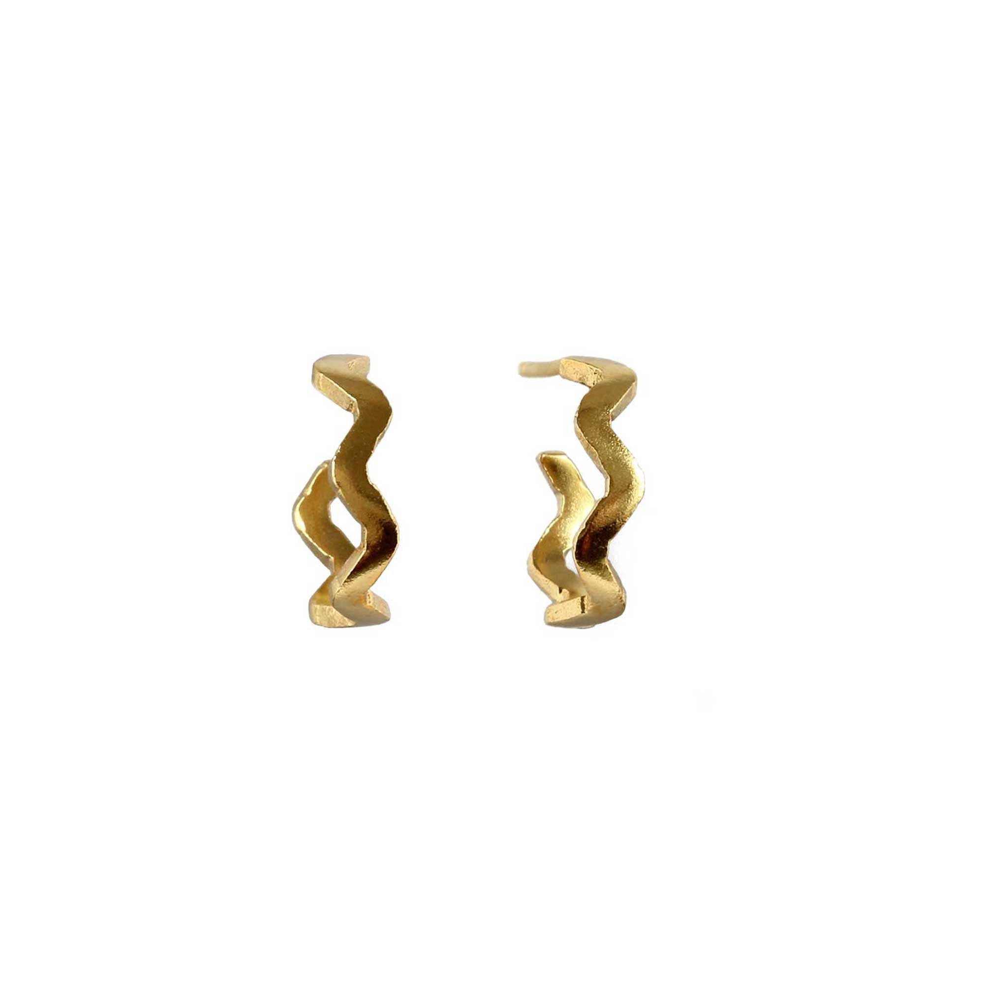 Tiny Villa Yellow Gold Hoops with zig zag form