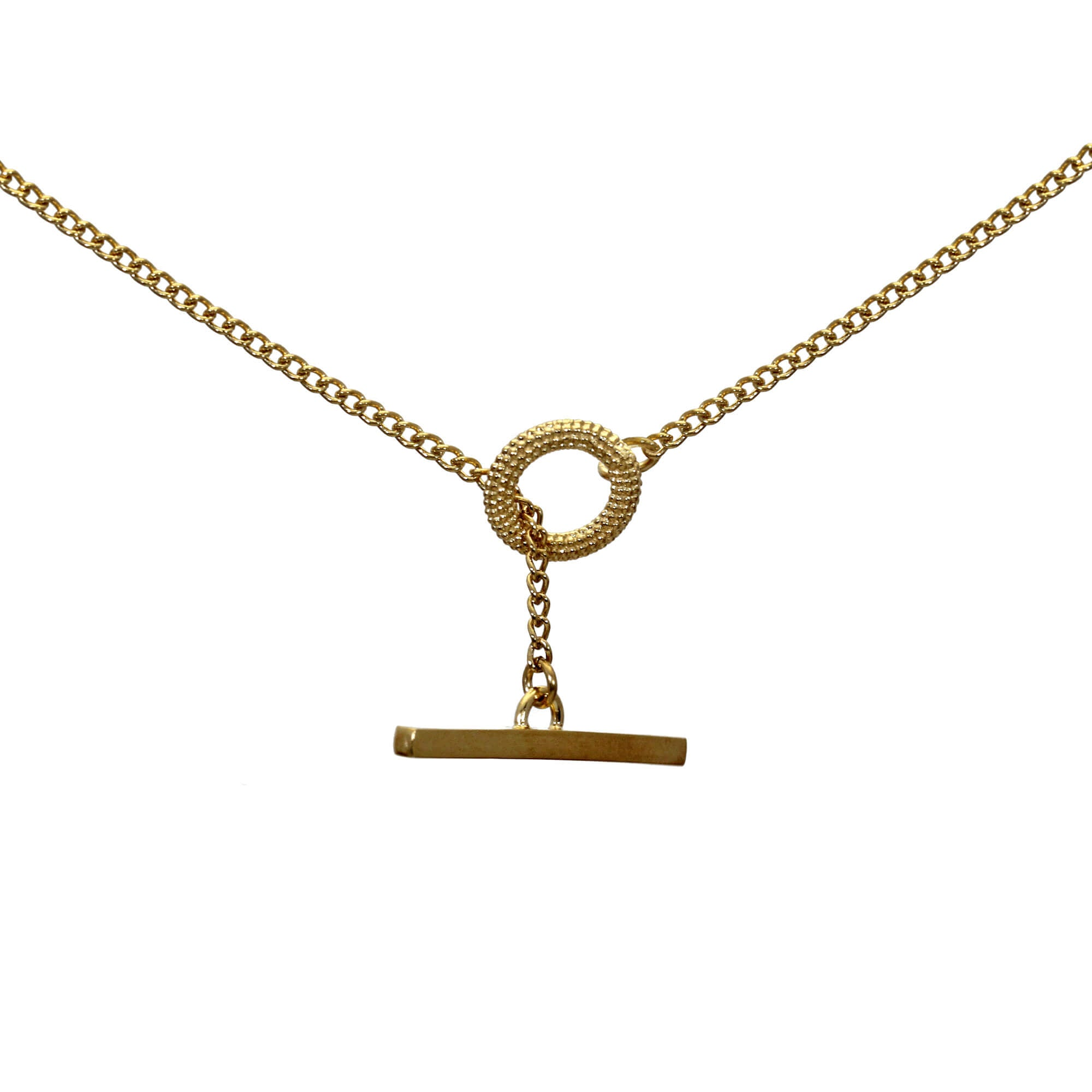 Tyro Yellow Gold T-Bar Necklace
