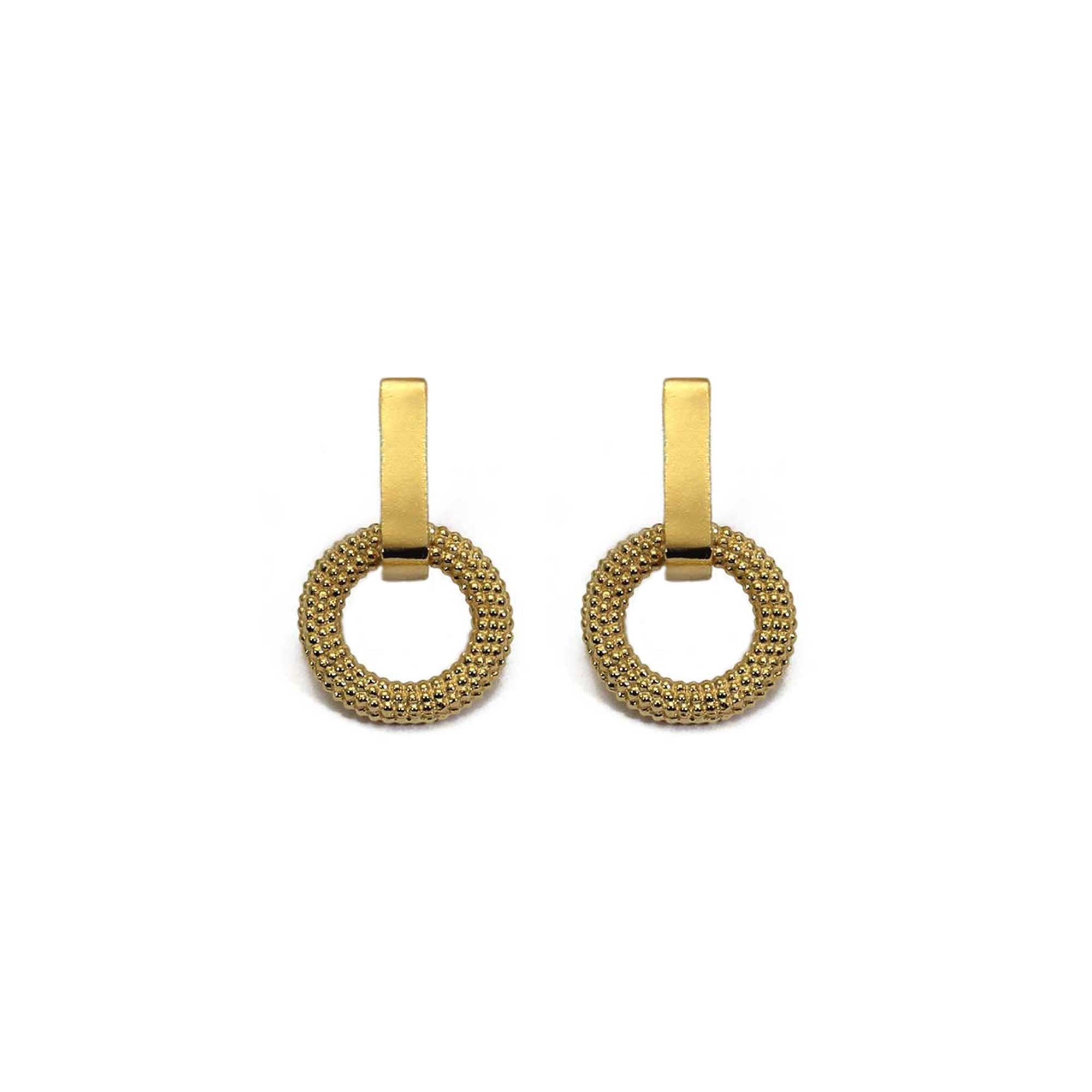 A pair of minimal yellow gold drop earrings