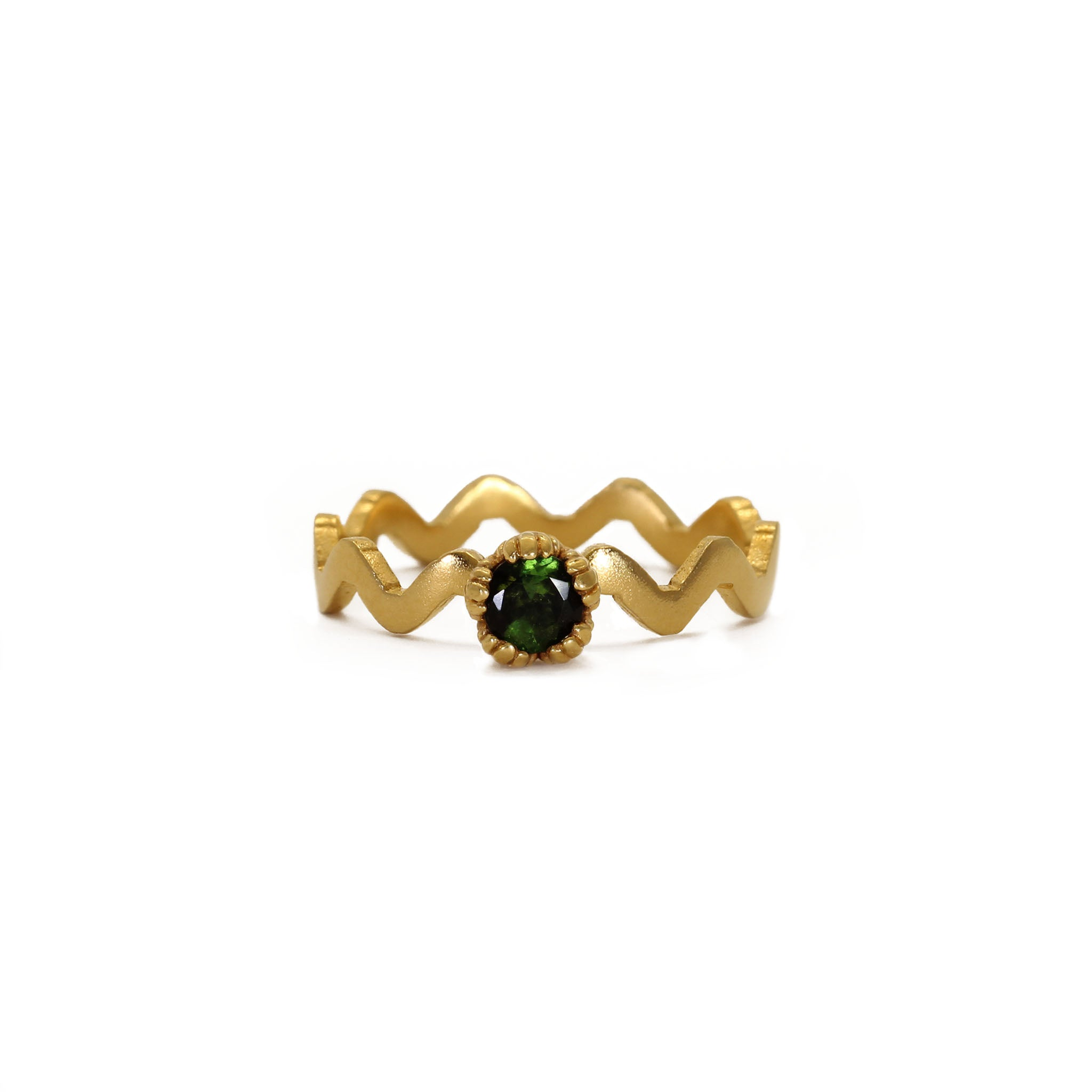 Villa Yellow Gold and Green Tourmaline Stacking Ring