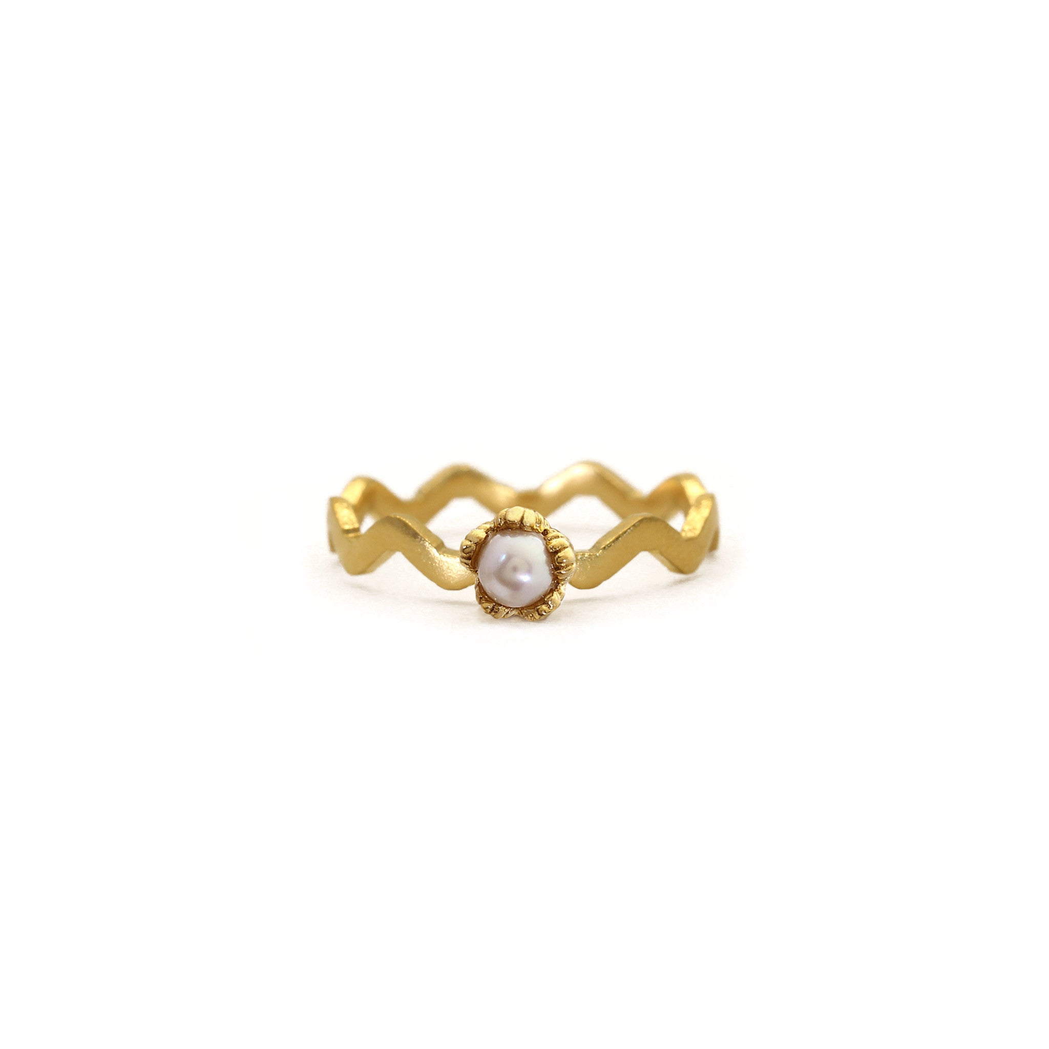 Villa Yellow Gold and Pearl Stacking Ring