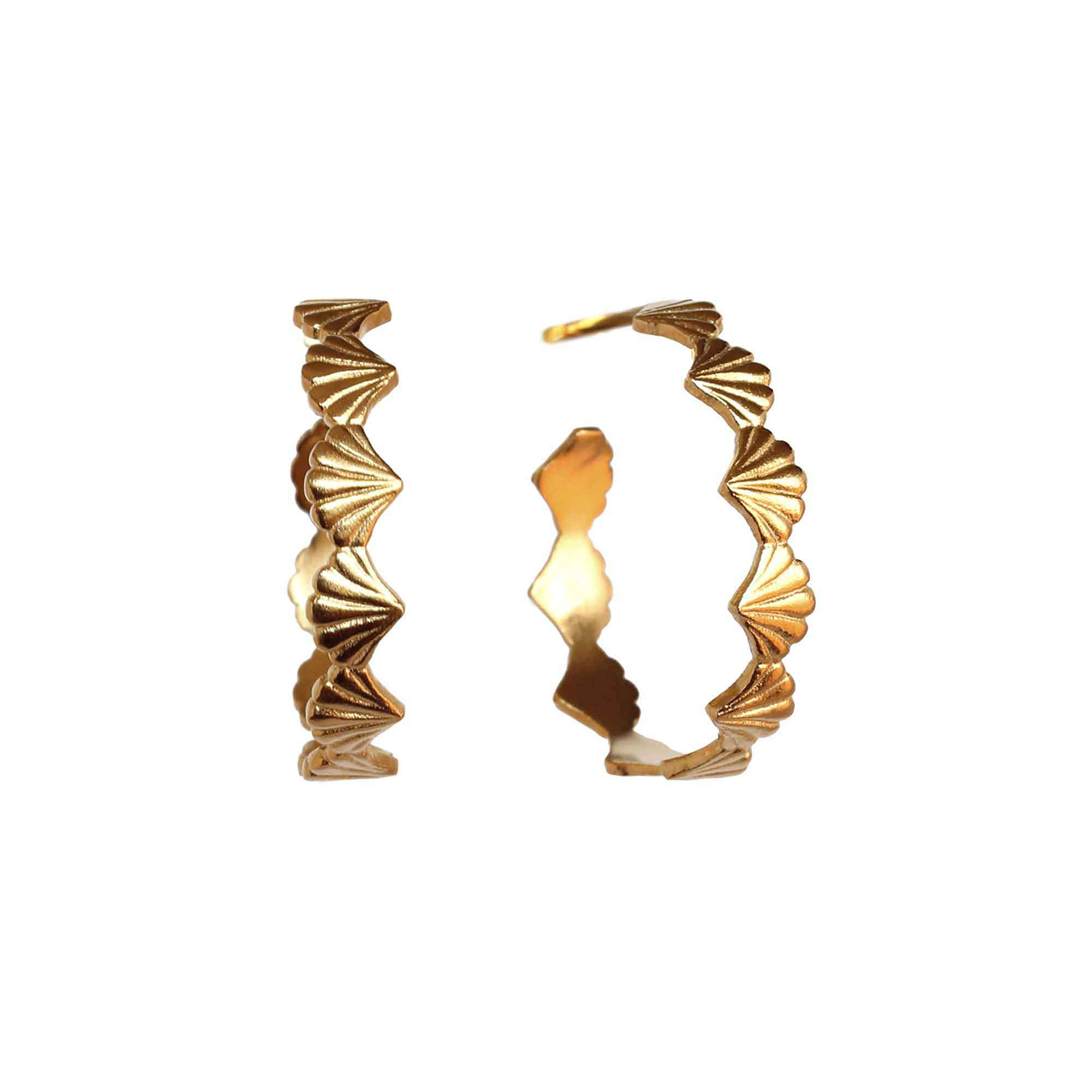 Large Scallop Shell Yellow Gold Hoops