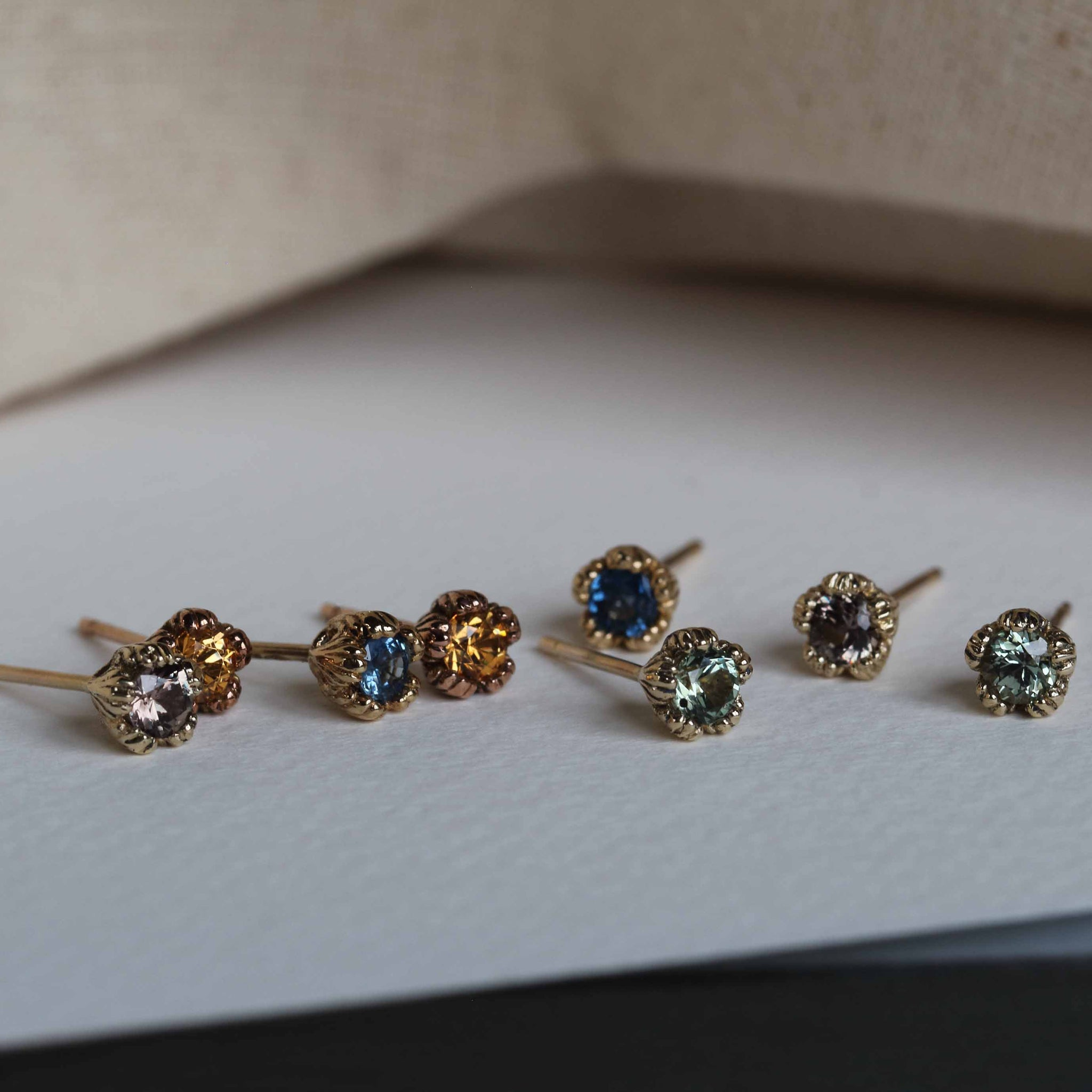 A selection of gemstone earrings.