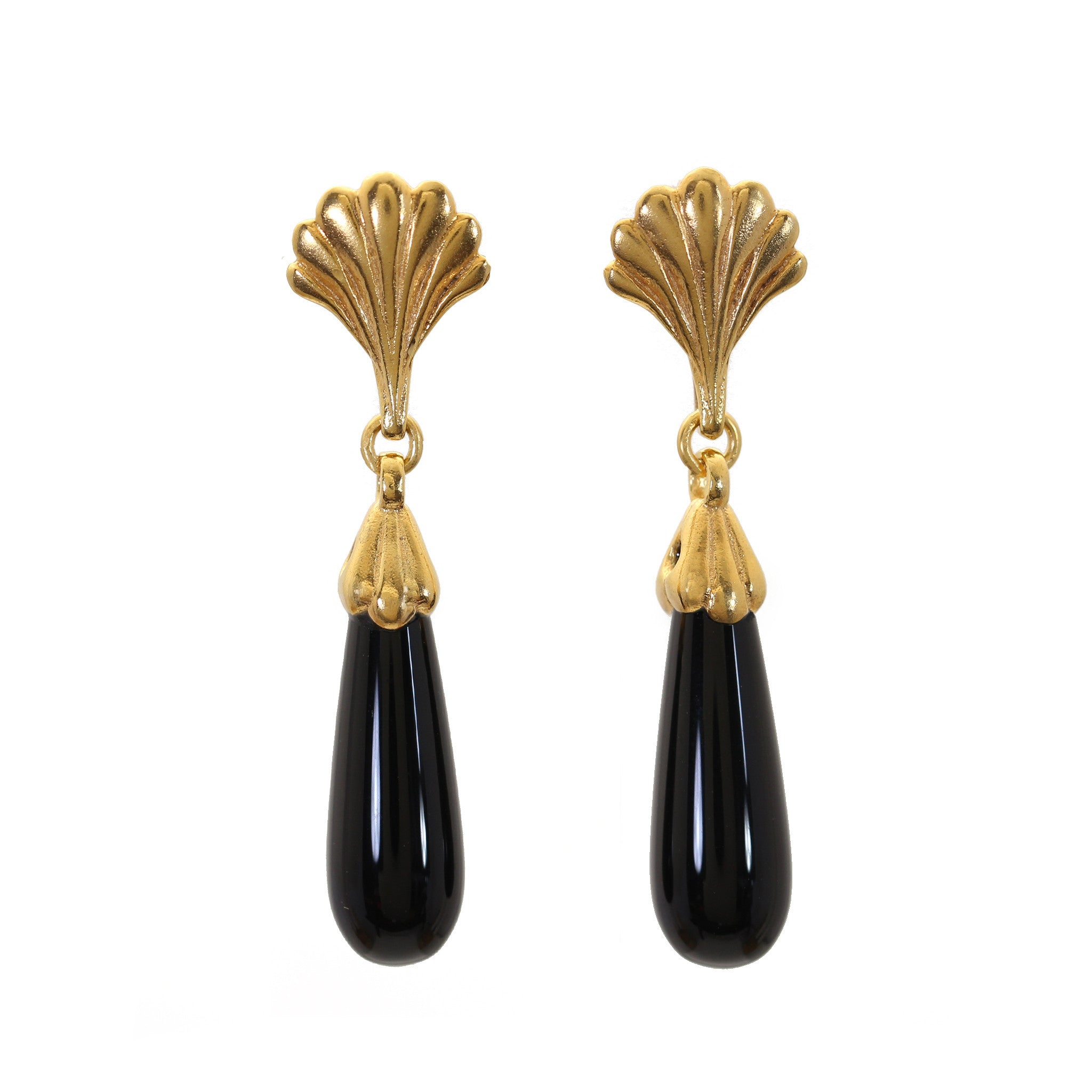 Facade Yellow Gold and Onyx Drop Earrings