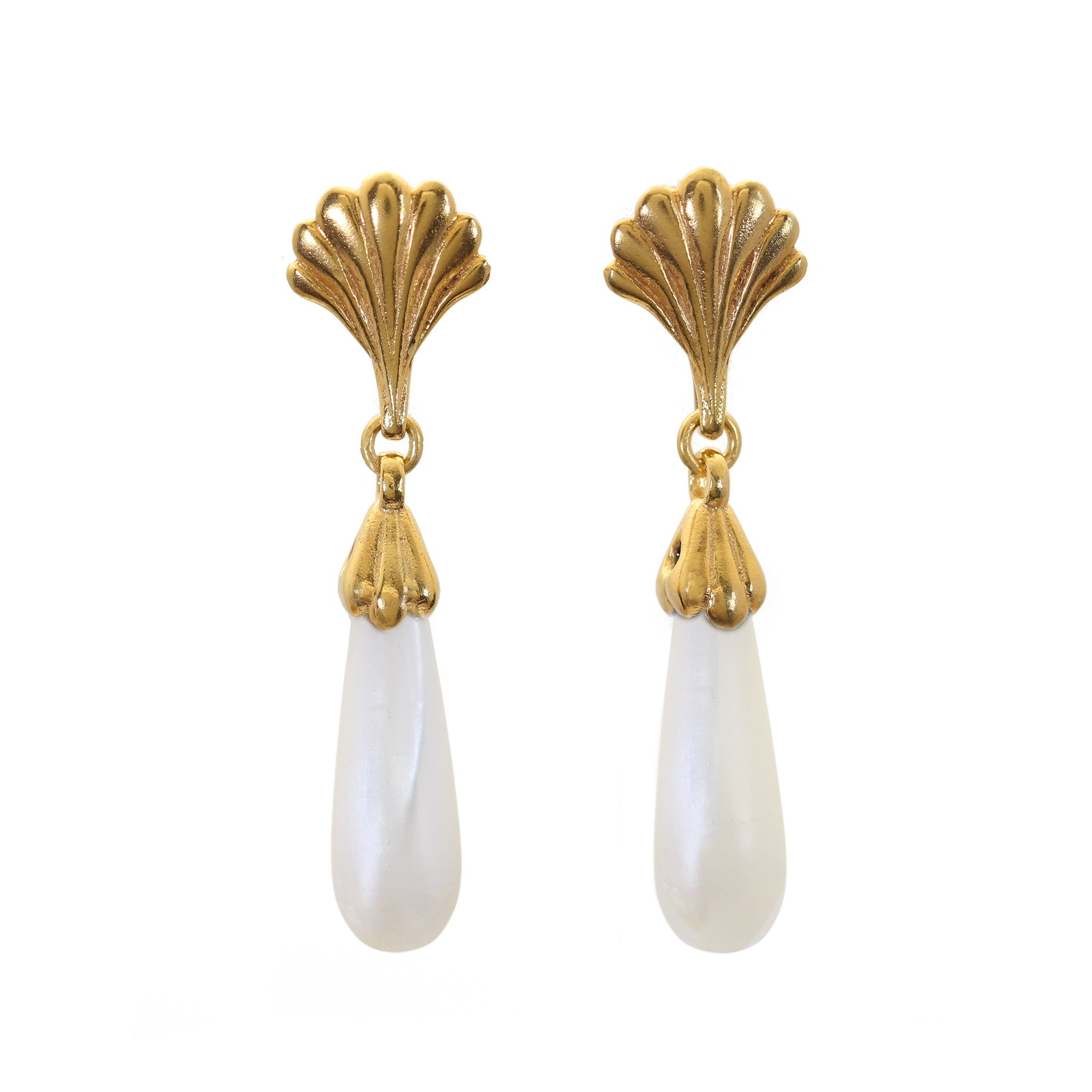 Facade Yellow Gold and Mother of Pearl Drop Earrings