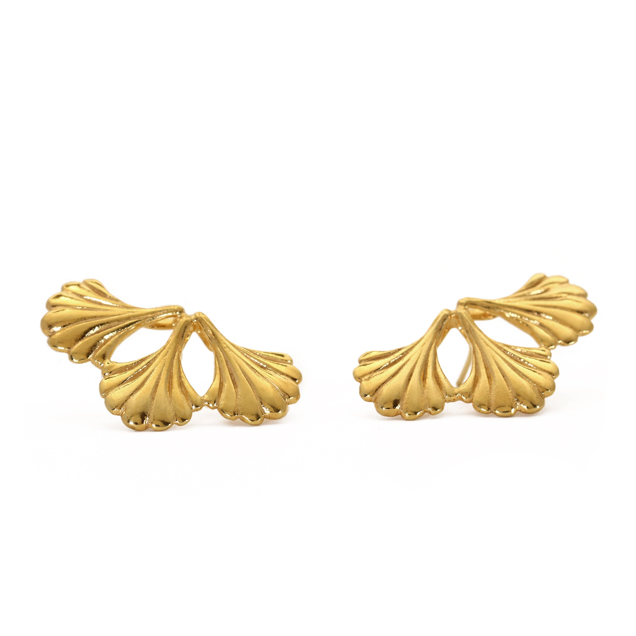 Mirrored Wing Yellow Gold Stud Earrings
