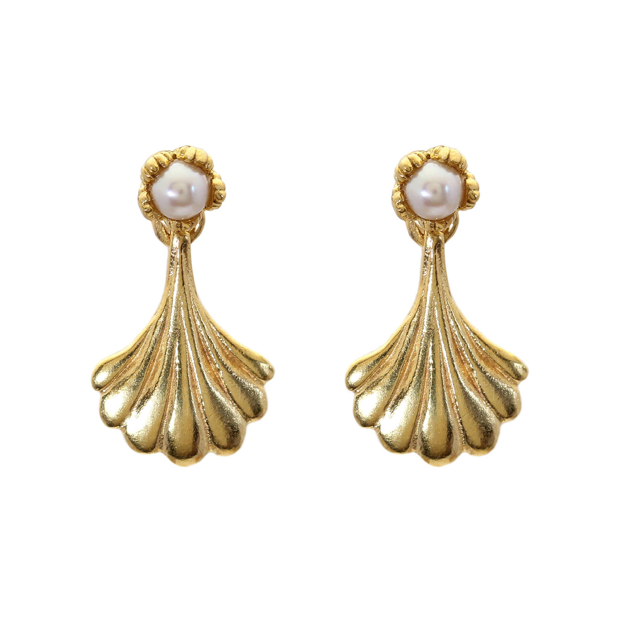 Villa Wing Yellow Gold and Pearl Drop Earrings