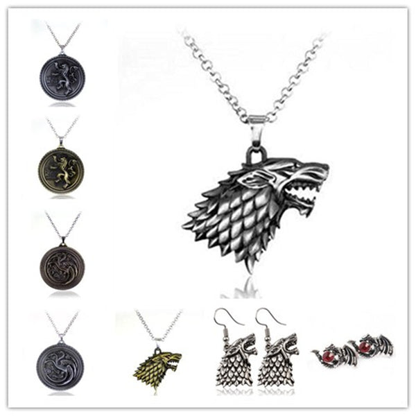 Game of Thrones inspired House Stark Wolf  Necklace
