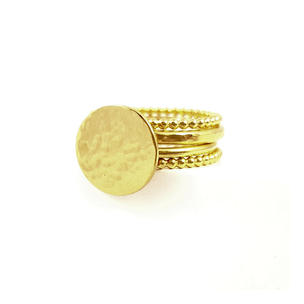 Halo Ring Stack | Set of Four Gold Vermeil Textured Rings