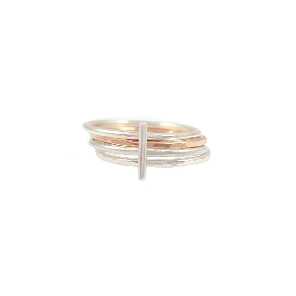 Spirited Silver Ring Stack - Silver and Rose Gold