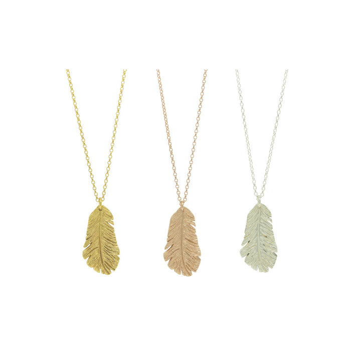 Feather Necklace in Sterling Silver, 18ct Yellow and Rose Gold Vermeil