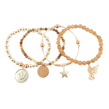 Set of 4 silver, rose gold and semi-precious stone Bracelets