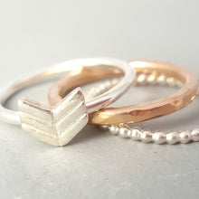 Sterling Silver and Rose Gold Arrow Ring Stack- Set of 3 Handmade Stacking Rings