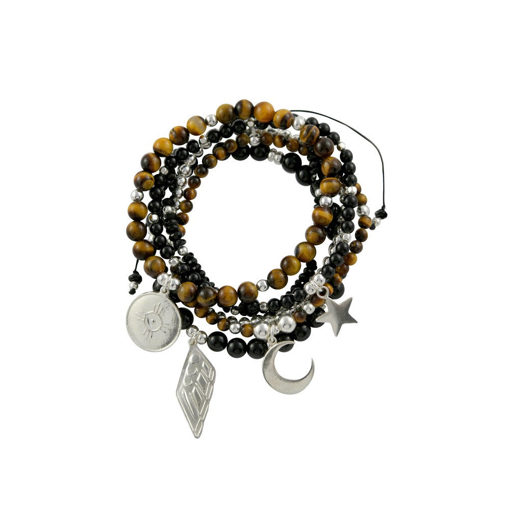 Courage Silver and Gemstone Bracelet Stack | Tigers Eye and Onyx