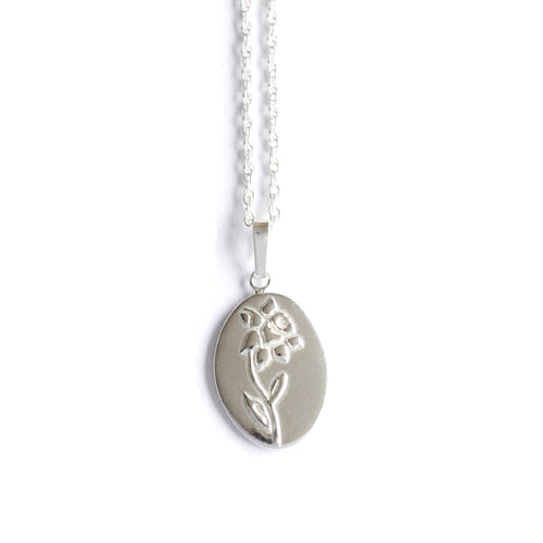 Daffodil Birth Flower Necklace in Sterling Silver