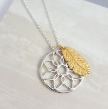Silver Dreamcatcher and 18ct Gold Vermeil Feather Necklace