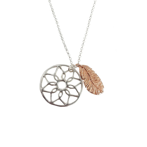 Dreamcatcher and Feather Charm Necklace | Rose Gold and Silver Necklace