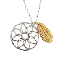 Dreamcatcher and Feather Charm Necklace | Gold and Silver Necklae