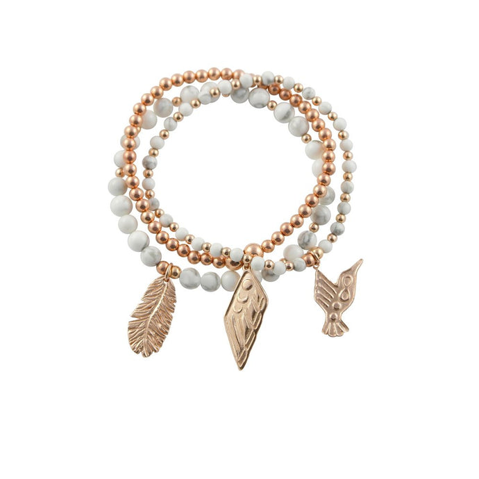 Rose Gold and Semi-Precious Gemstone Bracelet Stack