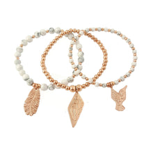 Feather, Thunderbird and Hummingbird Charms | Rose Gold Boho Jewellery