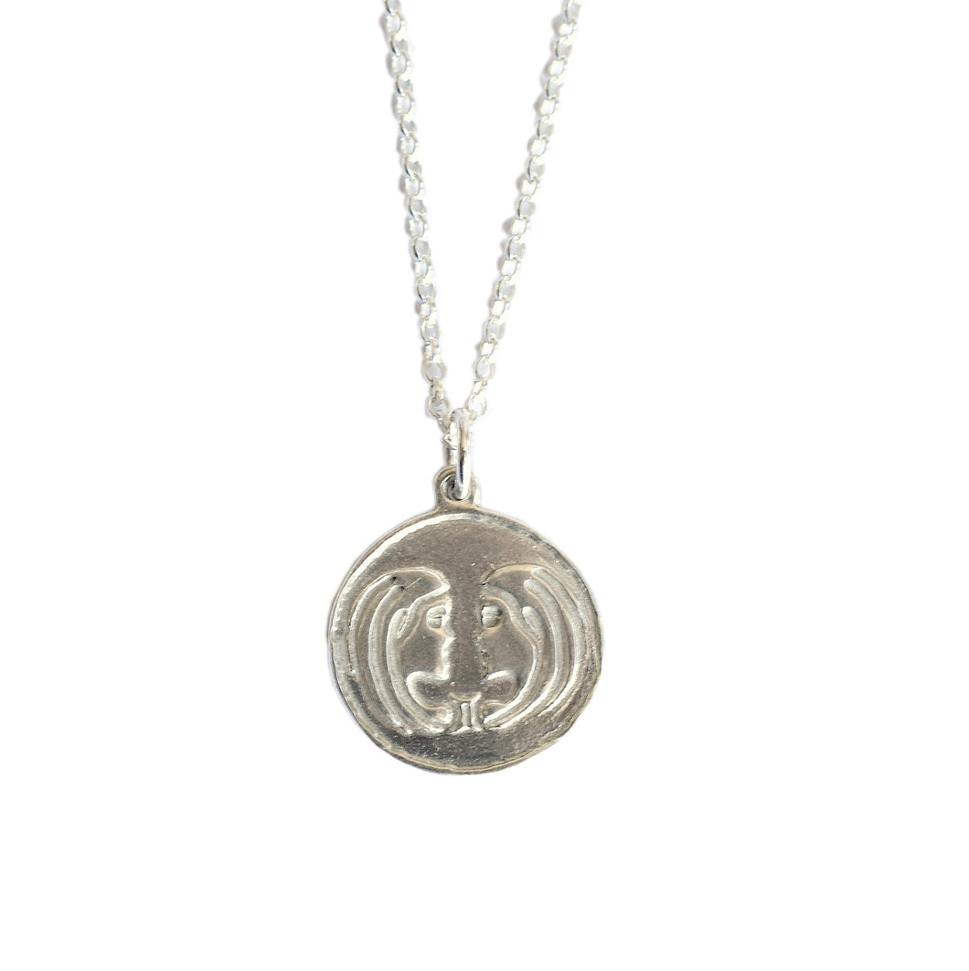 Gemini Zodiac Necklace in sterling silver