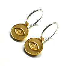 Gold Evil Eye Charm Hoop Earrings