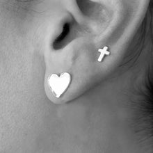 Textured Silver Heart Studs Essentia By Love Lily Rose